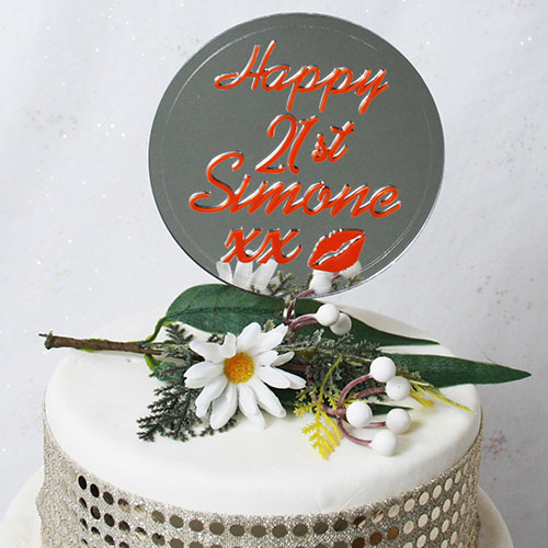 Lipstick On Mirror Cake Topper Happy 21st Personalised135mm X 205mm Maria Designs